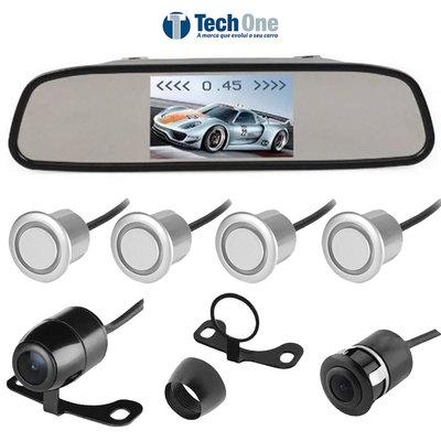 Kit Estacionamento com Retrovisor Câmera e Sensor de Ré
