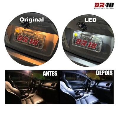 Par Lâmpada Led Pingo T10 28 LEDs TORRE 12V 5W Branca Aplicação Placa Teto Porta Malas