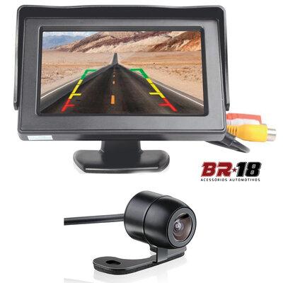 Kit Monitor com Tela e Câmera de Ré Borboleta