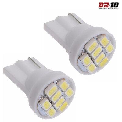 10 Unidades (5 Pares) LED T10 Pingo 8 Pontos