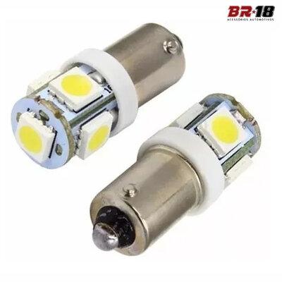 Par Lâmpadas LED 69 Ba9s TORRE 12V 5W Branca 4 Leds
