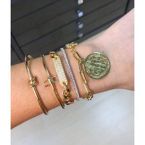 Bracelete 1 Arame Farpado Ouro