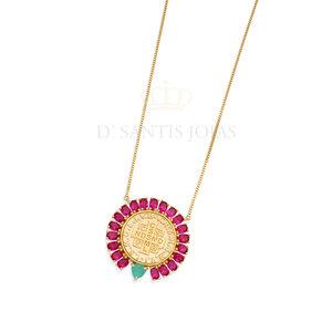 Colar Medalha São Bento volta cravejada Safira Rosa Ouro18k Prata925