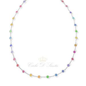 Choker Pontos Rainbow Prata925