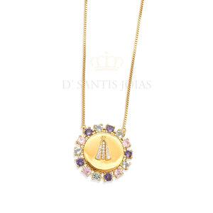 Colar Medalha Nossa Senhora Tons Candy Ouro18k Prata925