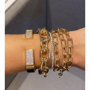 Bracelete Quadrado Cravejado Abre/Fecha Prata925 Ouro18k