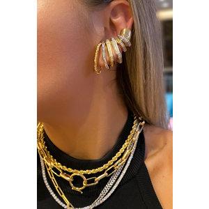 Brinco ear hook textura torcida ouro 18k (unitário)