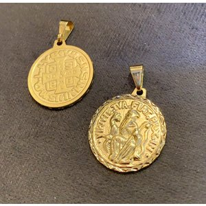 Pingente Medalha de Sao Bento Vintage Ouro