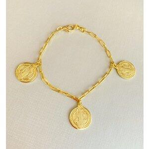 Pulseira Medalhas de São Bento Elo Cartier Ouro18k