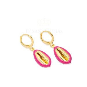 Argola Buzios Esmaltada Pink Ouro18k