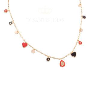 Colar CHARMS FUN Pingentes (Coração, gota, medalha) Esmaltados COLORS RED ouro