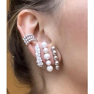 Brinco Ear Hook Duplo Pontos de Luz Prata925