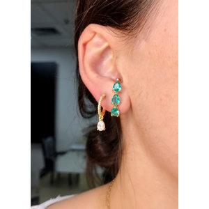 Brinco Ear Hook Gotas Turmalina Ouro