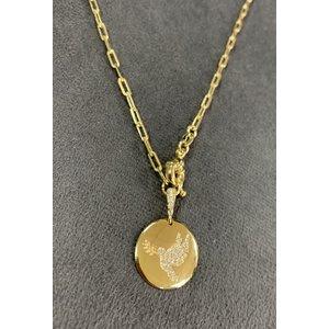 Colar Medalha Divino Cravejado Corrente Cartier Ouro com Fecho Boia