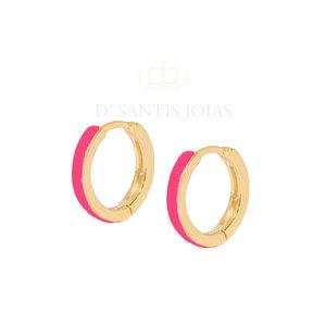 Argola Esmaltada Basica Pink Ouro18k