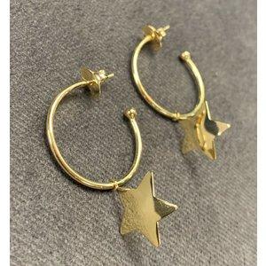 Brinco Argola 2.5cm Estrela Texas Ouro
