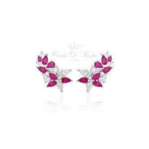 Brinco Valentine Ear Cuff Prata925 Zirconias Rubi