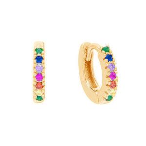 Argola Classica Rainbow Ouro 1.2cm