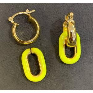 ARGOLA CLIP Amarelo Neon Ouro 18k