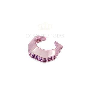 Piercing de pressao HB metalizado Rosa cravejado roxo