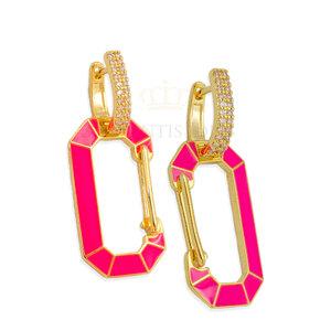 Brinco Chiara Pink Neon desmontavelOuro