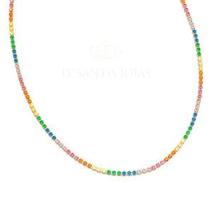 Choker Riviera Rainbow Delicada Ouro