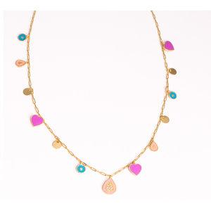 Colar CHARMS FUN Pingentes ( Coração , gota , medalha ) Esmaltados COLORS PINK ouro