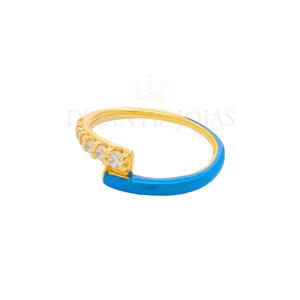 Anel Duplo Cravejado e Esmaltado Azul Ouro18k