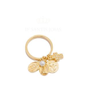 Anel Penduricalhos Protetores Ouro