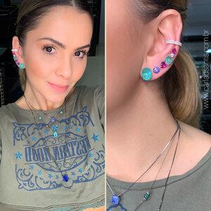 Brinco Ear Cuff Esmeralda Colombiana e Turmalina Rosa Prata925