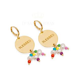 Argola Medalha BLESSED Colors Ouro
