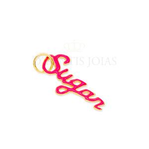 Pingente SUGAR esmaltado Pink Ouro