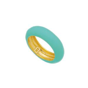 Anel Tubo esmaltado Colors Azul Ouro18k