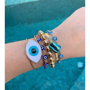 Bracelete Olho Grego Branco Ouro