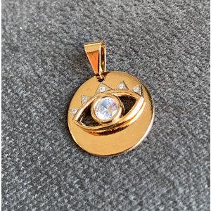 Pingente Medalha olho grego com zirconia