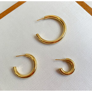 Argola Tubo espessura 4mm Ouro (escolha o tam)