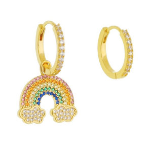 Argola Cravejada Arco Iris Ouro