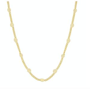Colar shine grumet bolinhas achatadas 60 cm ouro18k