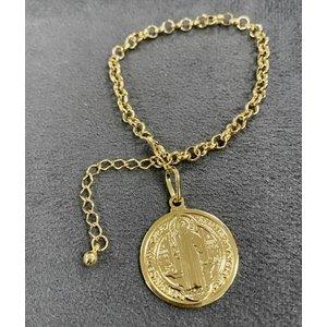 Pulseira Medalha São Bento Elo Portugues Ouro