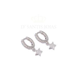 Argola Cravejada com Estrela Pequena Prata925