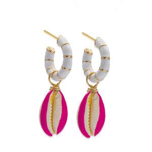 Argola Buzios Esmaltado Pink com Concha Ouro18k