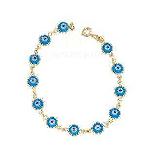 Pulseira Olho Grego Azul com Textura Ouro18k