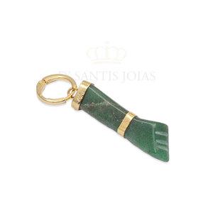 Pingente Figa Pedra Agata Verde Ouro