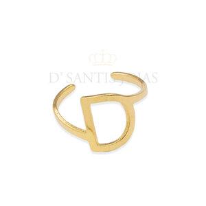 Anel Letra Ouro Ajustavel (letra D)