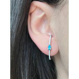 Brinco Ear Hook Cravejado com Gota Topázio Azul Prata925