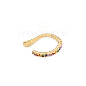 Piercing Cravejado Rainbow Delicado Prata925 Ouro