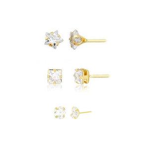 TRIO Brincos Estrela + Quadrado + Ponto Cristal Ouro