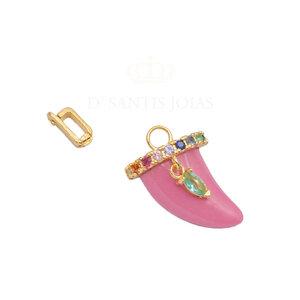 Pingente Dente Rosa Rainbow Ouro