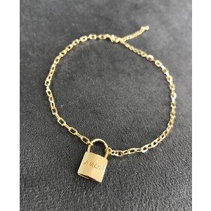 Tornozeleira Cadeado AMOR Corrente Cartier ouro