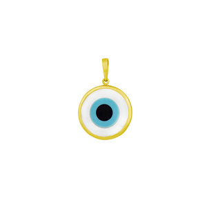 Pingente Olho Grego fundo Branco Ouro